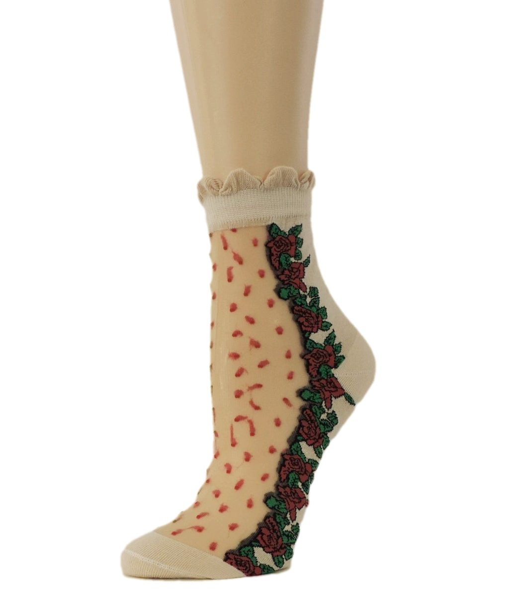 Red Flowers Sheer Socks - Global Trendz Fashion®