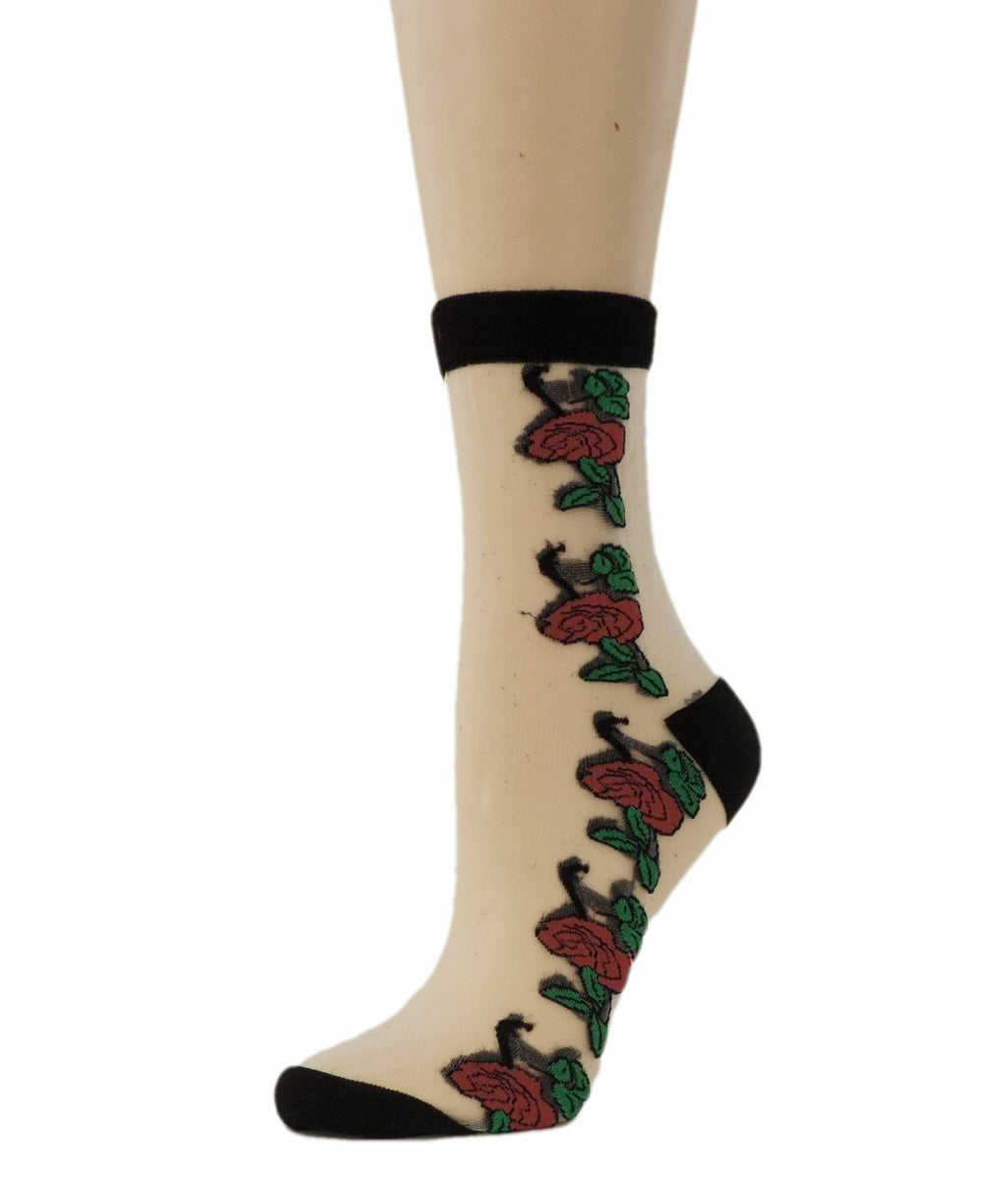 Big Red Roses Sheer Socks - Global Trendz Fashion®