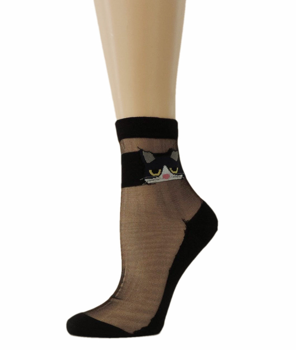 Kitty Eye Black Sheer Socks - Global Trendz Fashion®