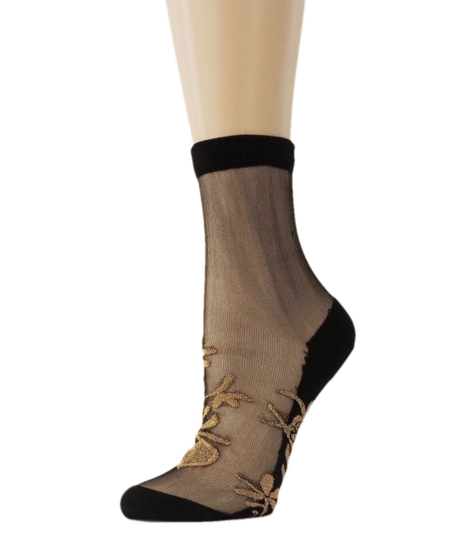 Golden Patterned Glitter Sheer Socks - Global Trendz Fashion®