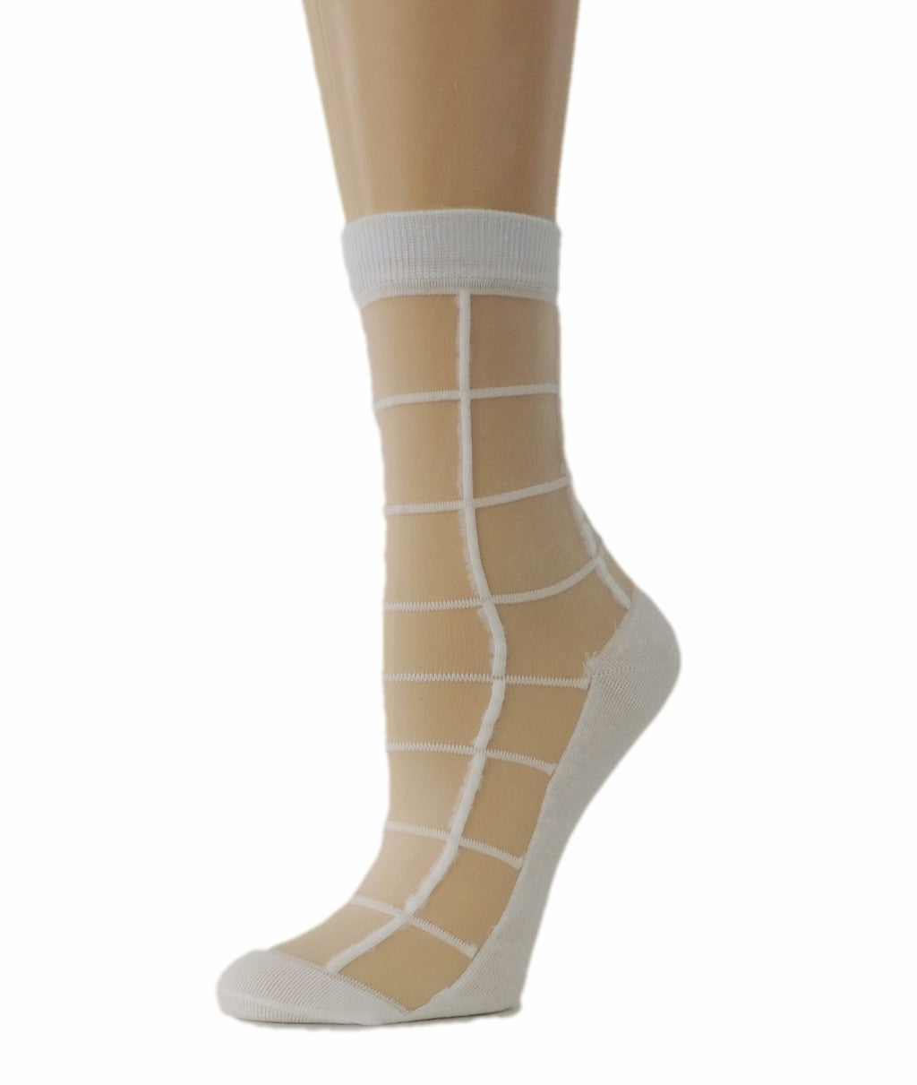 Calm White Square Sheer Socks - Global Trendz Fashion®