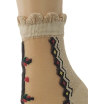 Spiral Beige Sheer Socks - Global Trendz Fashion®