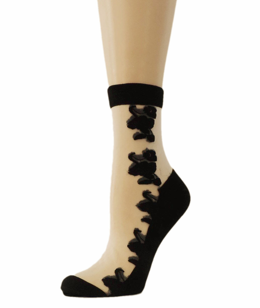 Big Black Roses Sheer Socks - Global Trendz Fashion®