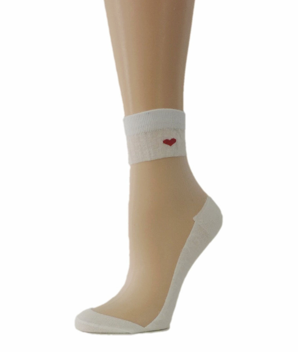 Young Heart White Sheer Socks - Global Trendz Fashion®