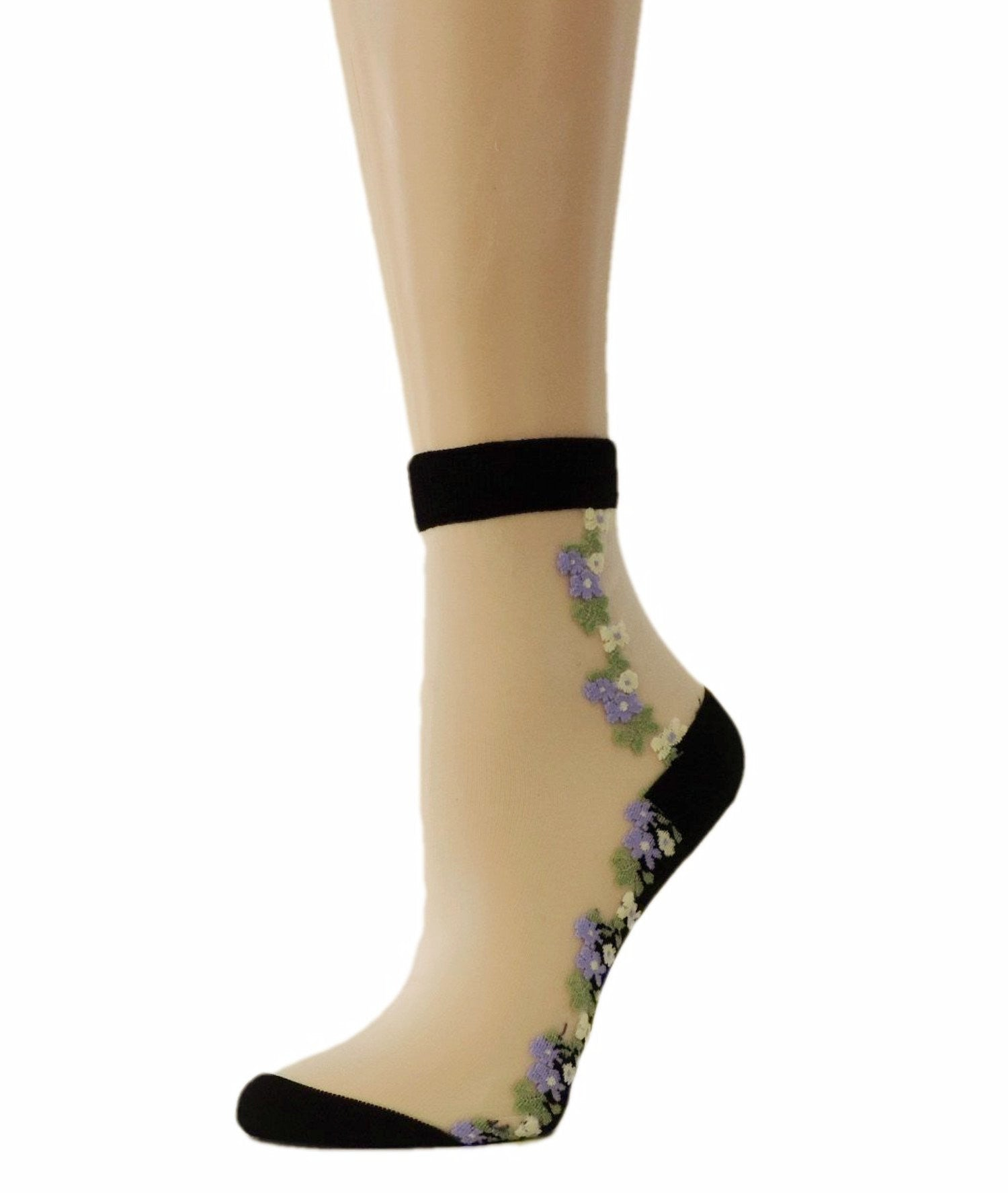 Wild Purple Flowers Sheer Socks - Global Trendz Fashion®