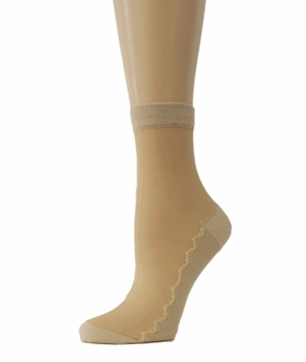 Simple Beige Striped Sheer Socks - Global Trendz Fashion®
