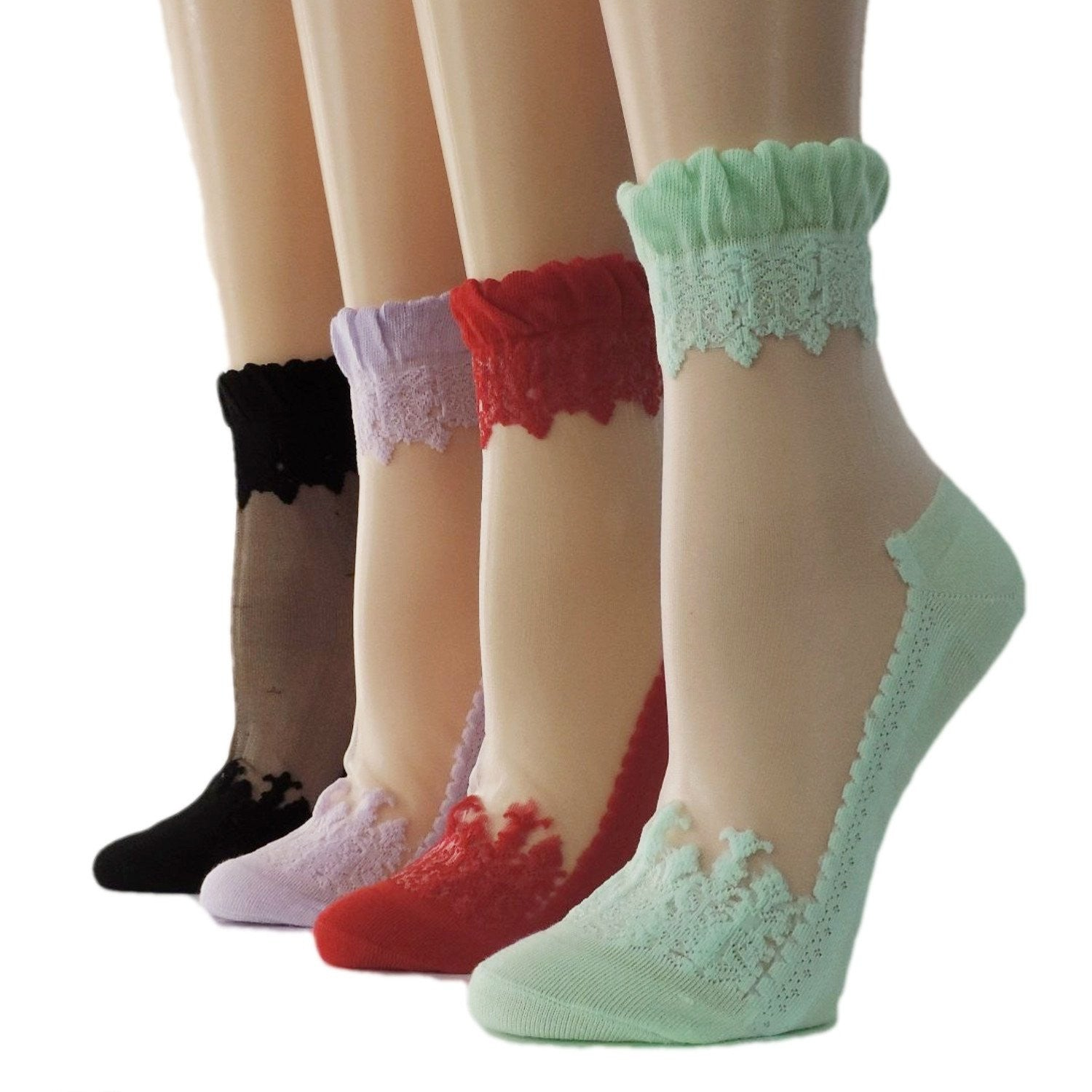 Stunning Patterned Sheer Socks (Pack of 4 Pairs)-Global Trendz  Fashion®