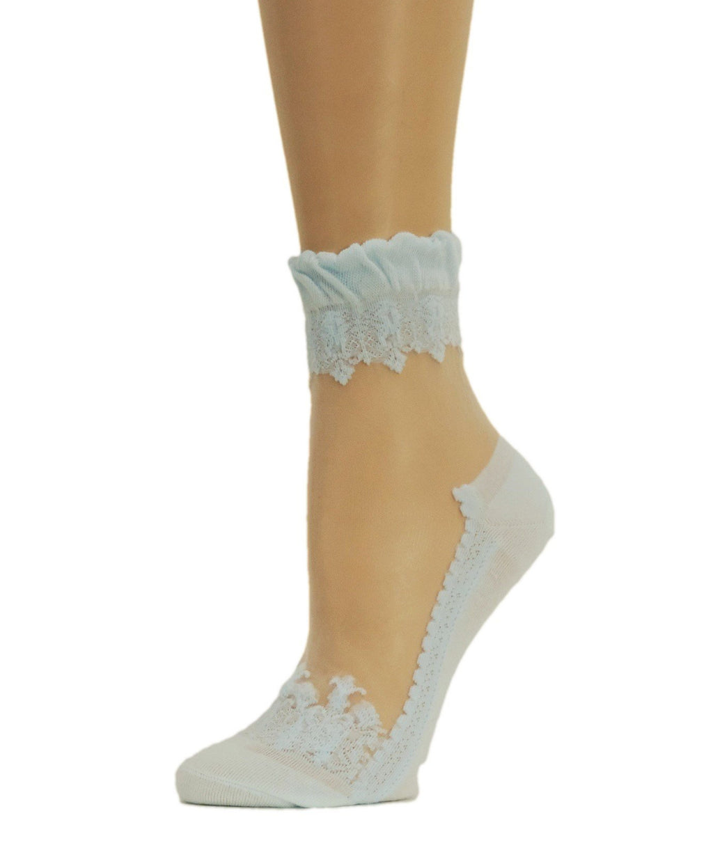 Stylish Sky-blue Sheer Socks - Global Trendz Fashion®
