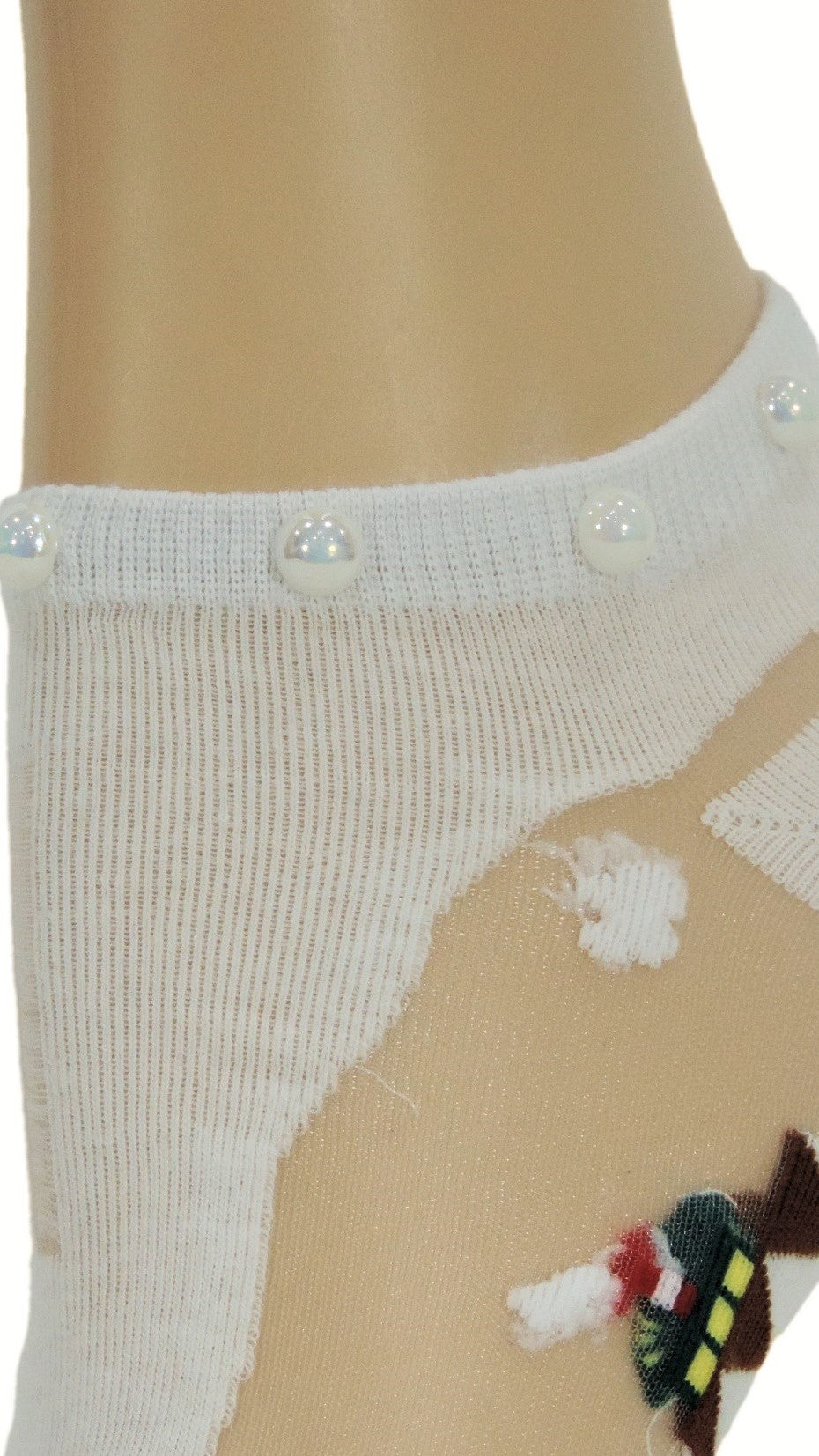 Pretty White Custom Ankle Sheer Socks with beads - Global Trendz Fashion®