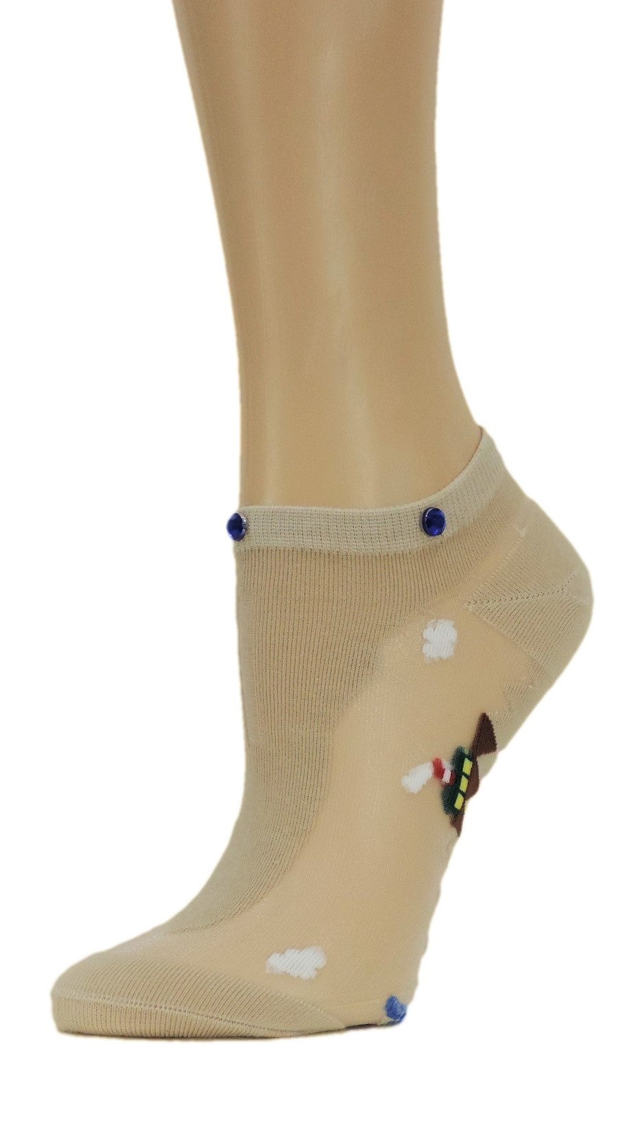 Pretty Custom Ankle Sheer Socks with beads
