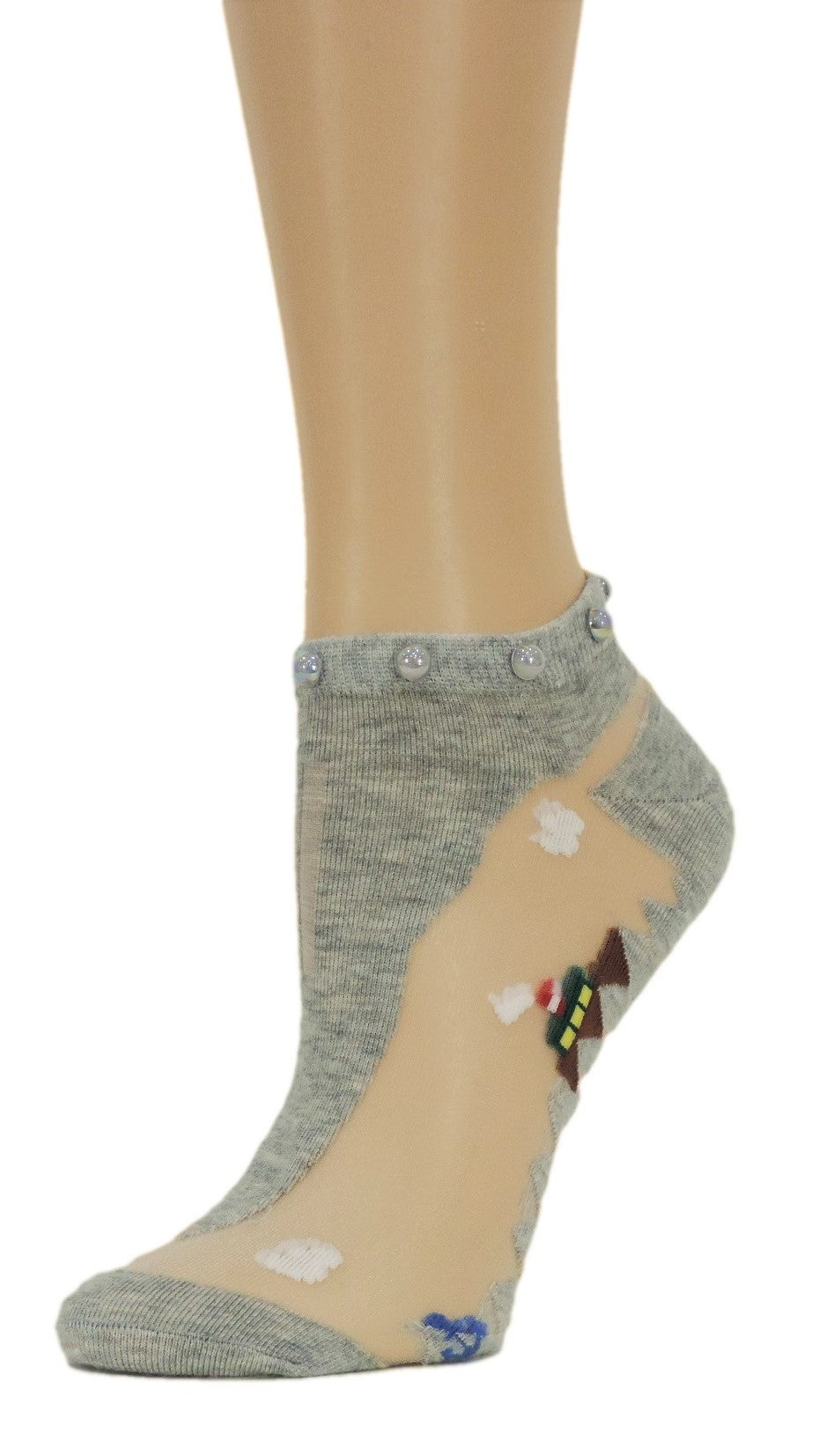 Pretty Grey Custom Ankle Sheer Socks with beads - Global Trendz Fashion®