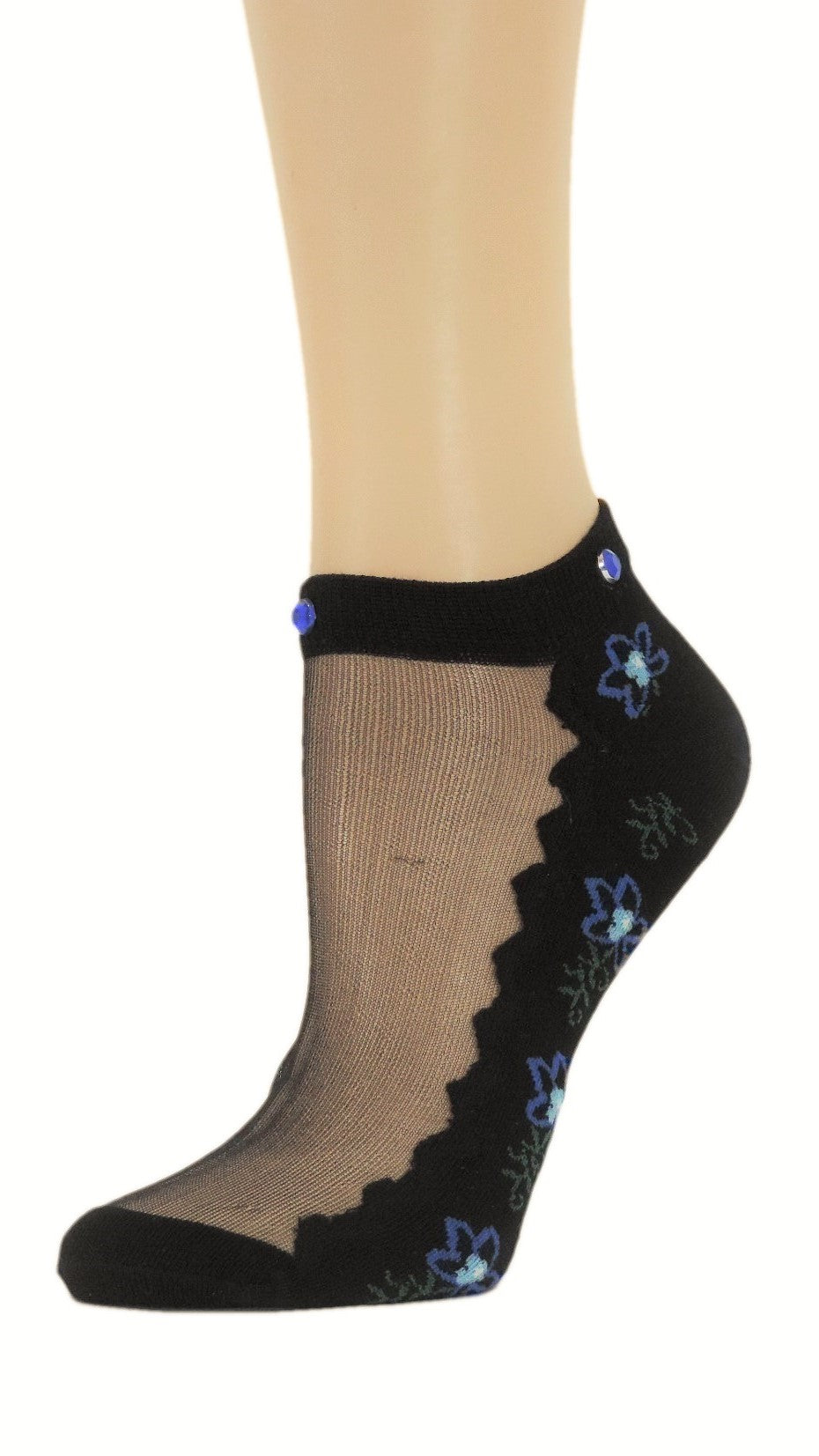 Charming Sea Blue Custom Ankle Sheer Socks with beads - Global Trendz Fashion®