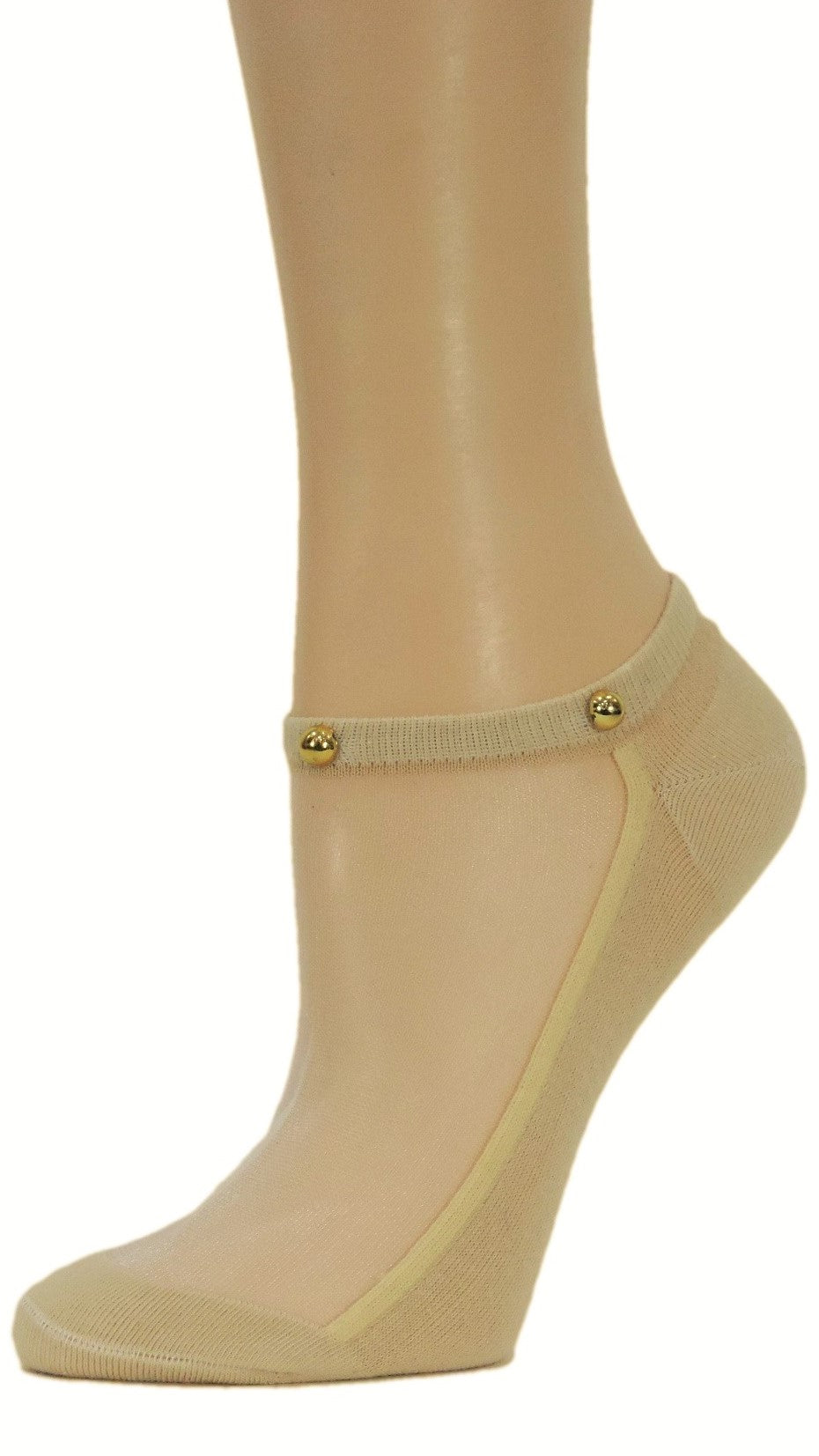 Sleek Beige Custom Ankle Sheer Socks with beads