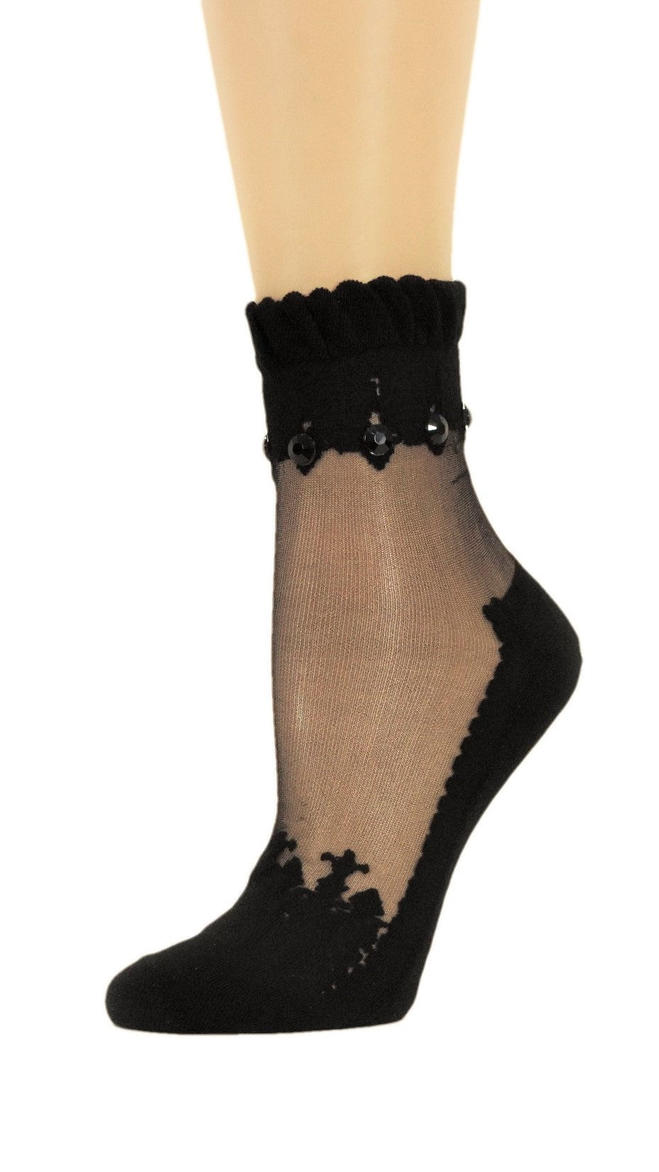 Dashing Black Custom Sheer Socks with beads - Global Trendz Fashion®