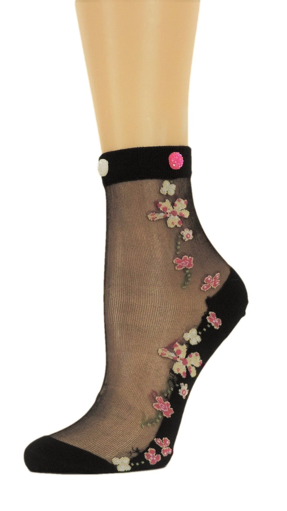 Summer Flowers Custom Sheer Socks with beads - Global Trendz Fashion®