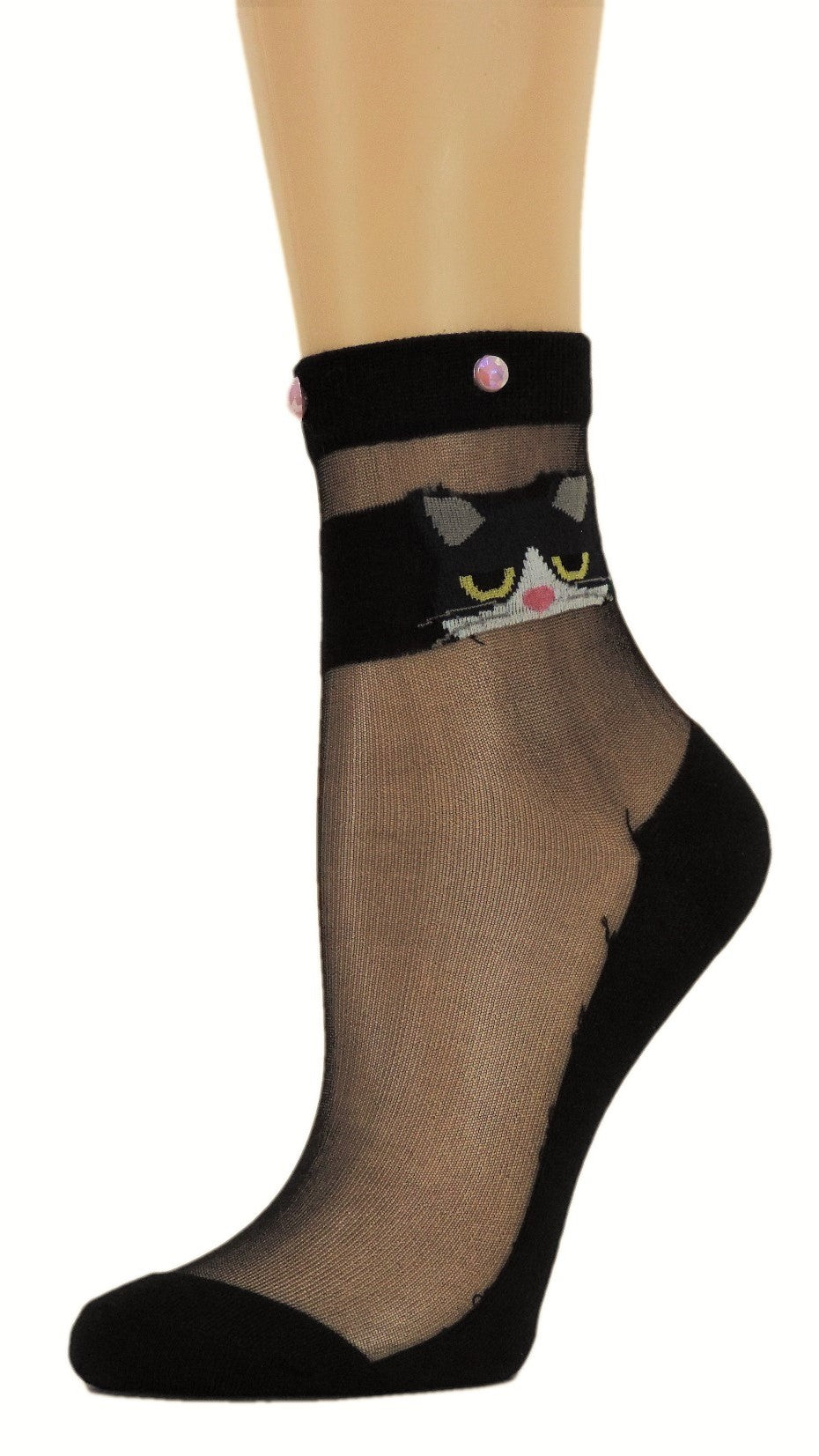 Kitty Eye Black Custom Sheer Socks with beads