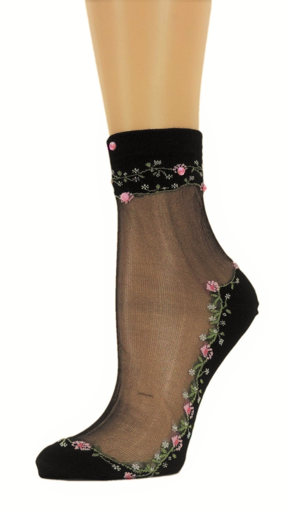 Spring Flowers Custom Sheer Socks with beads