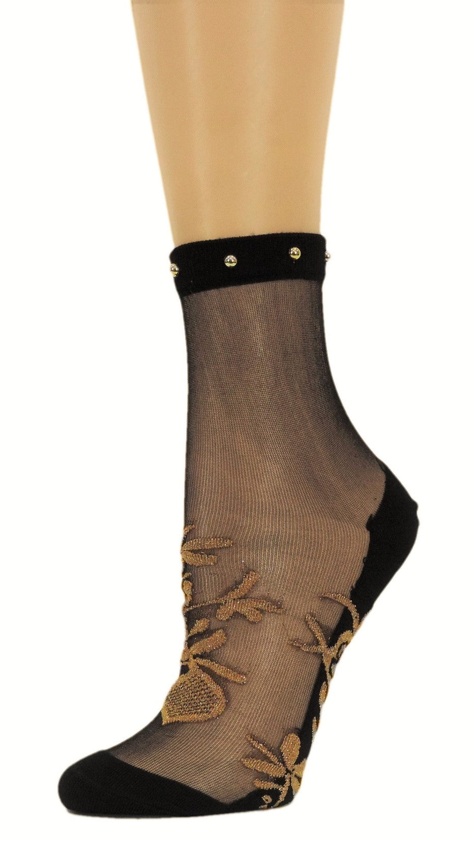 Golden Patterned Glitter Custom Sheer Socks with beads - Global Trendz Fashion®