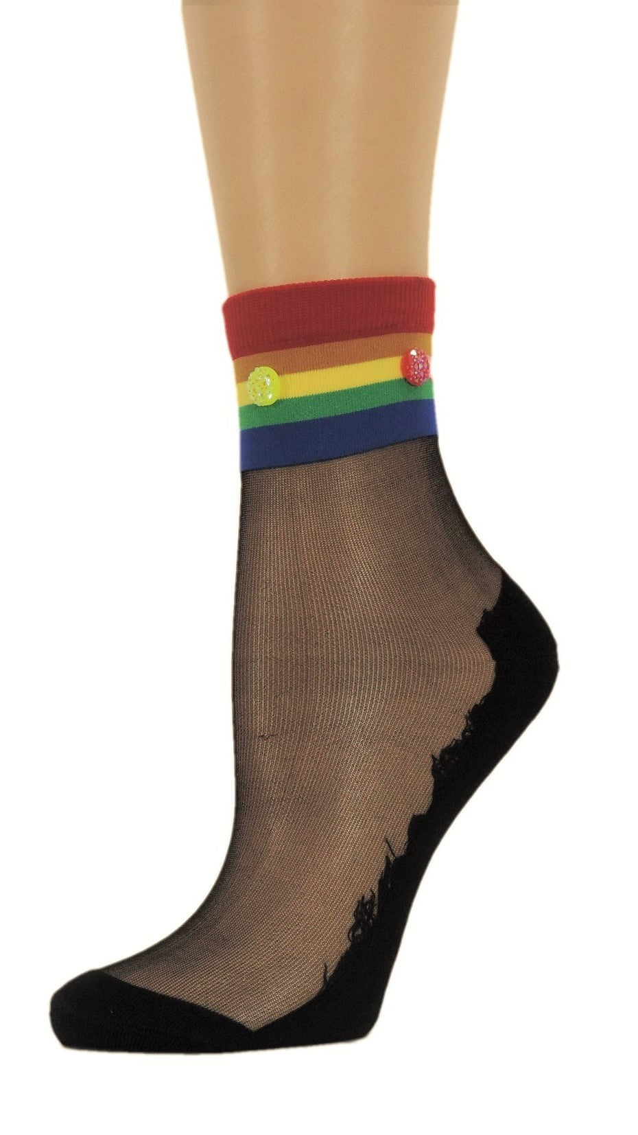 Multi-Color Striped Custom Sheer Socks with beads - Global Trendz Fashion®