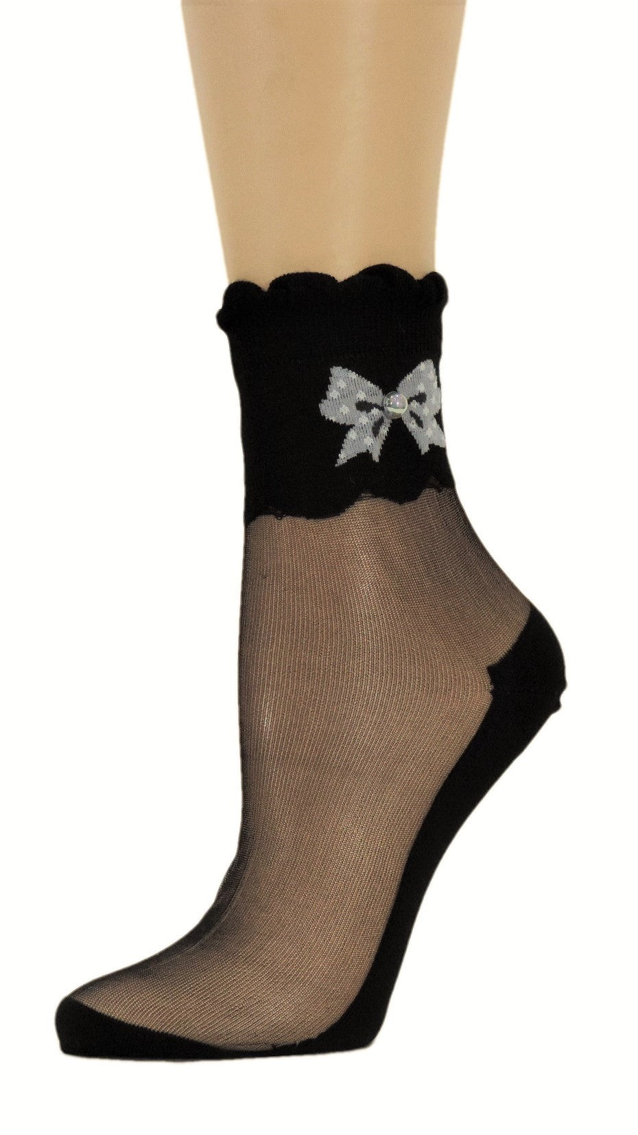 Cute Bow Black Custom Sheer Socks with beads - Global Trendz Fashion®