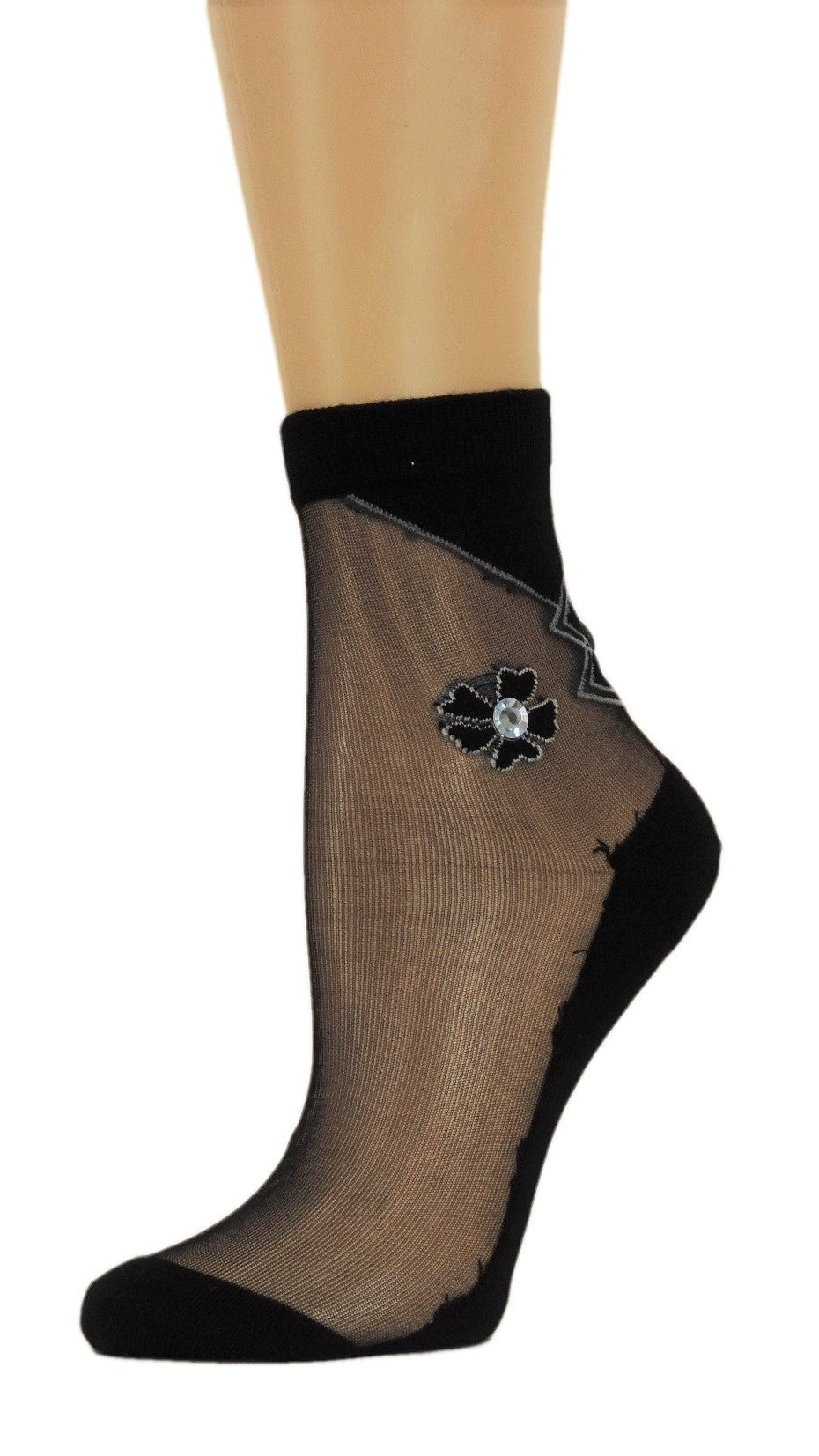 Five Leaf Petal Custom Sheer Socks with crystals - Global Trendz Fashion®