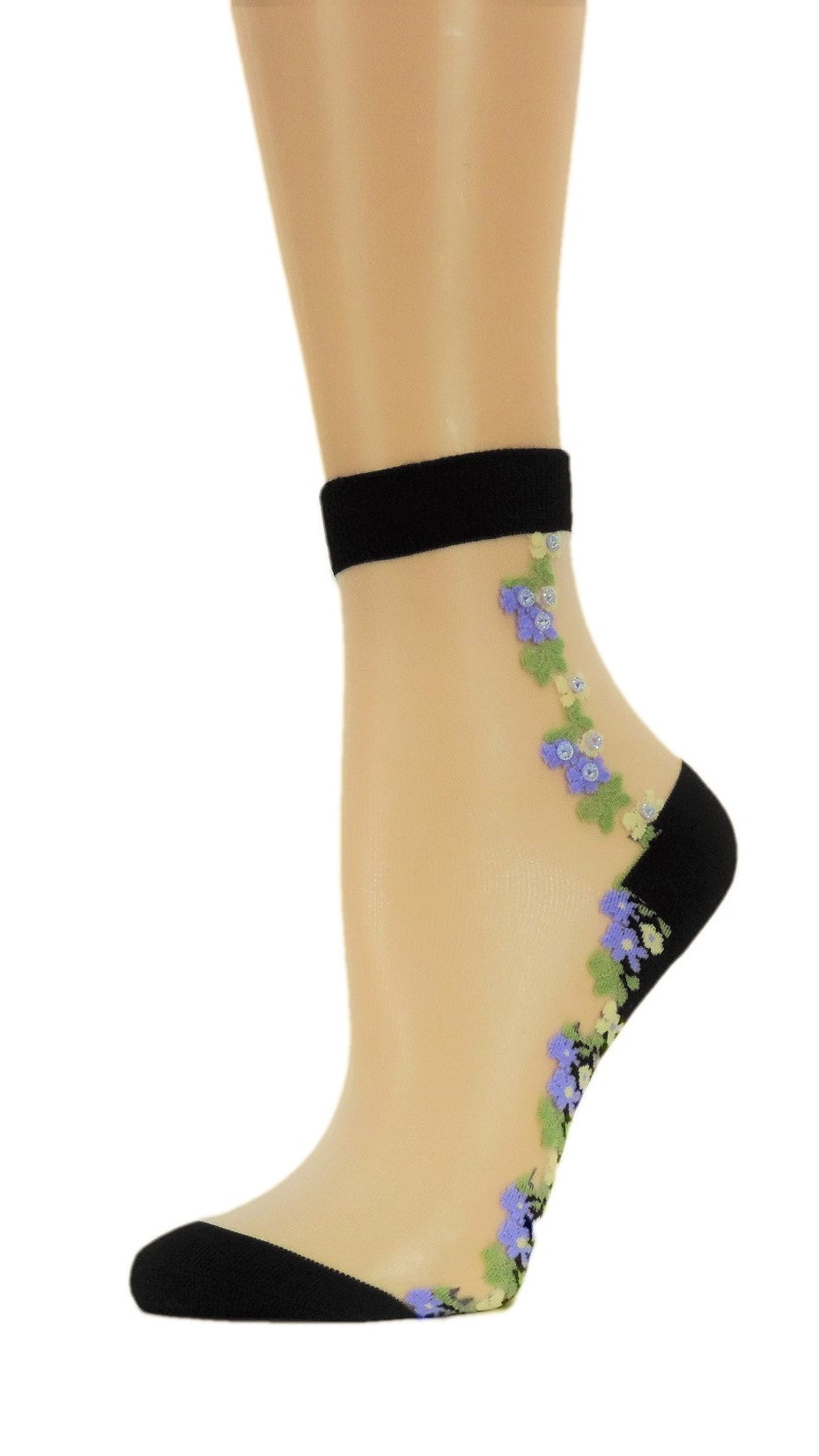 Wild Purple Flowers Custom Sheer Socks with crystals - Global Trendz Fashion®