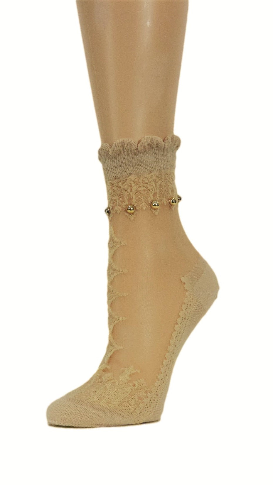 Elegant Beige Custom Sheer Socks with beads - Global Trendz Fashion®
