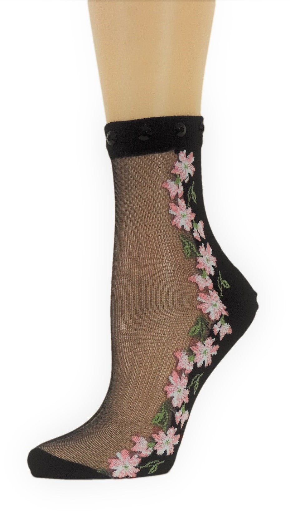 Happy Flowers Custom Sheer Socks with beads - Global Trendz Fashion®