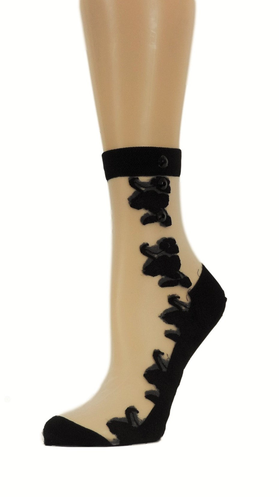 Big Black Roses Custom Sheer Socks with beads - Global Trendz Fashion®