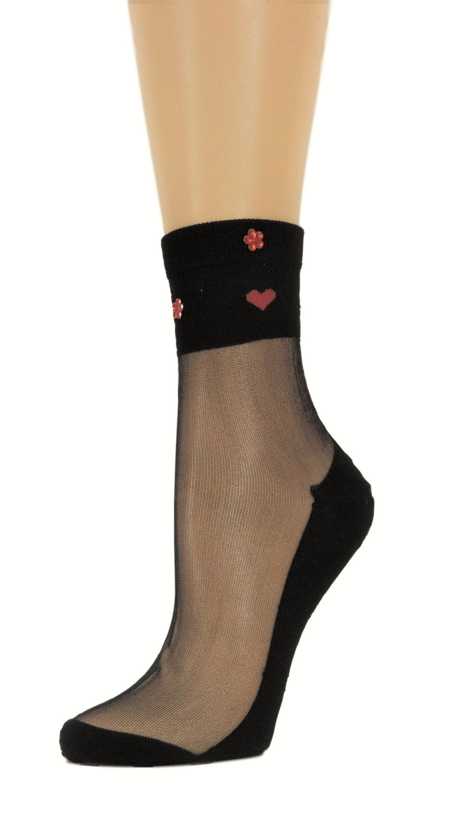 Young Heart Black Custom Sheer Socks with beads