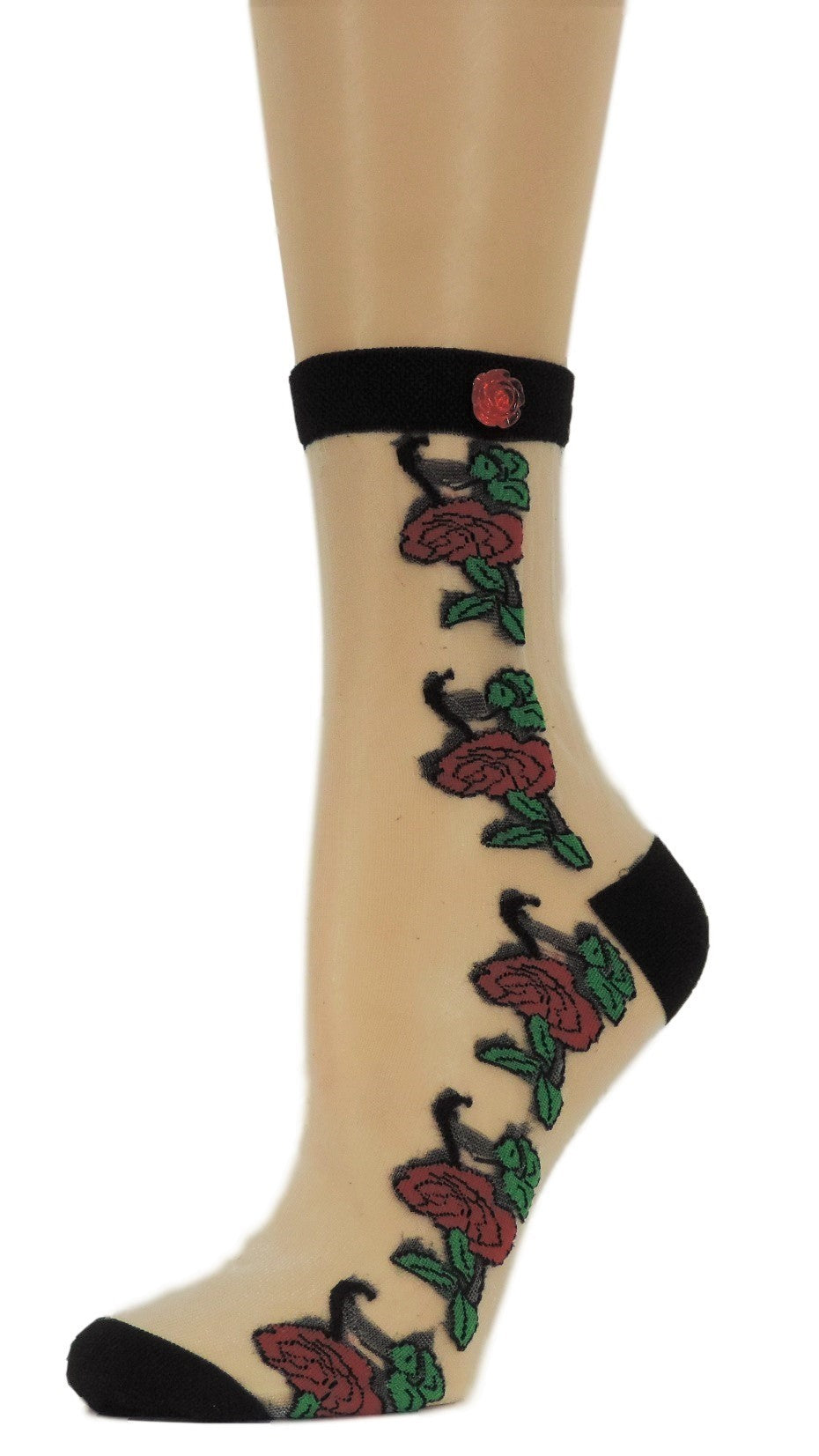 Big Red Roses Custom Sheer Socks with beads - Global Trendz Fashion®