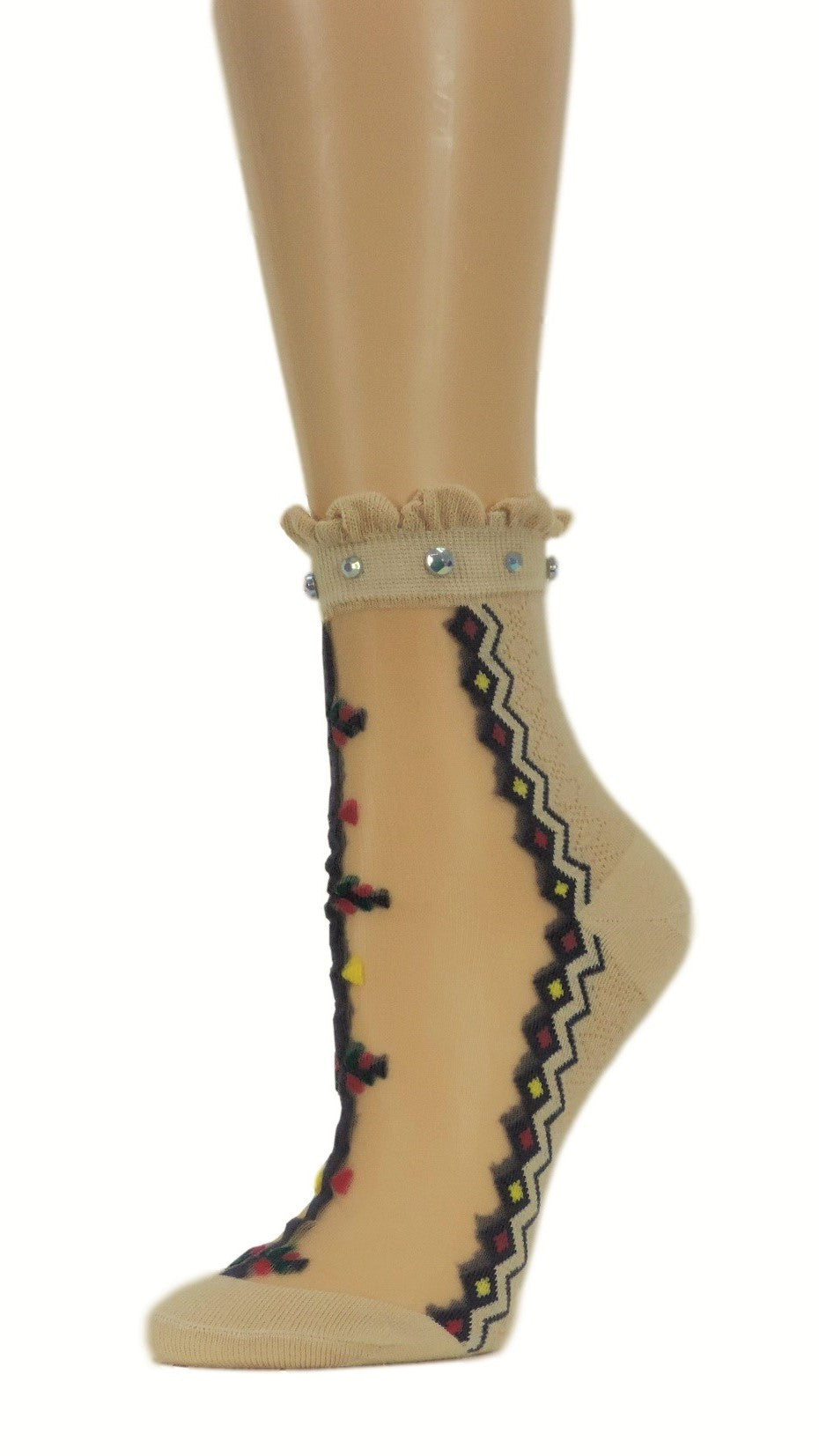 Spiral Beige Custom Sheer Socks with beads