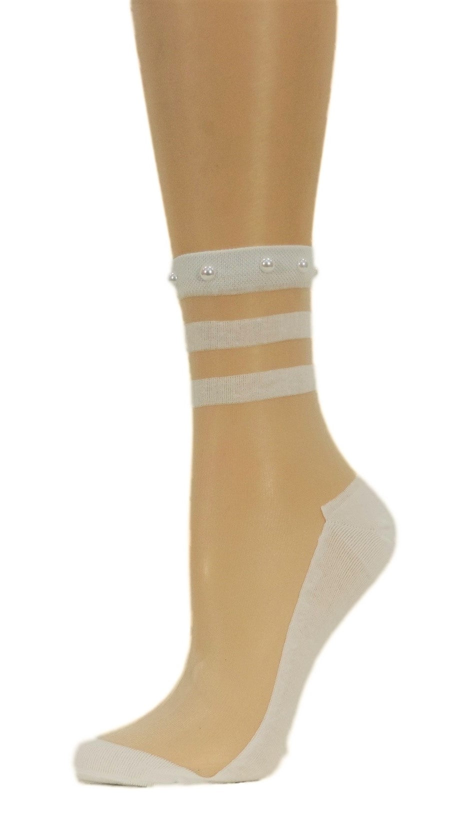 Classy White Striped Custom Sheer Socks with beads - Global Trendz Fashion®