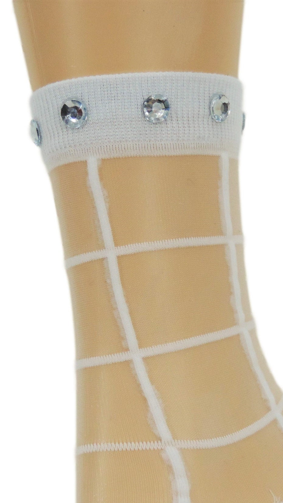 Calm White Square Custom Sheer Socks with crystals - Global Trendz Fashion®