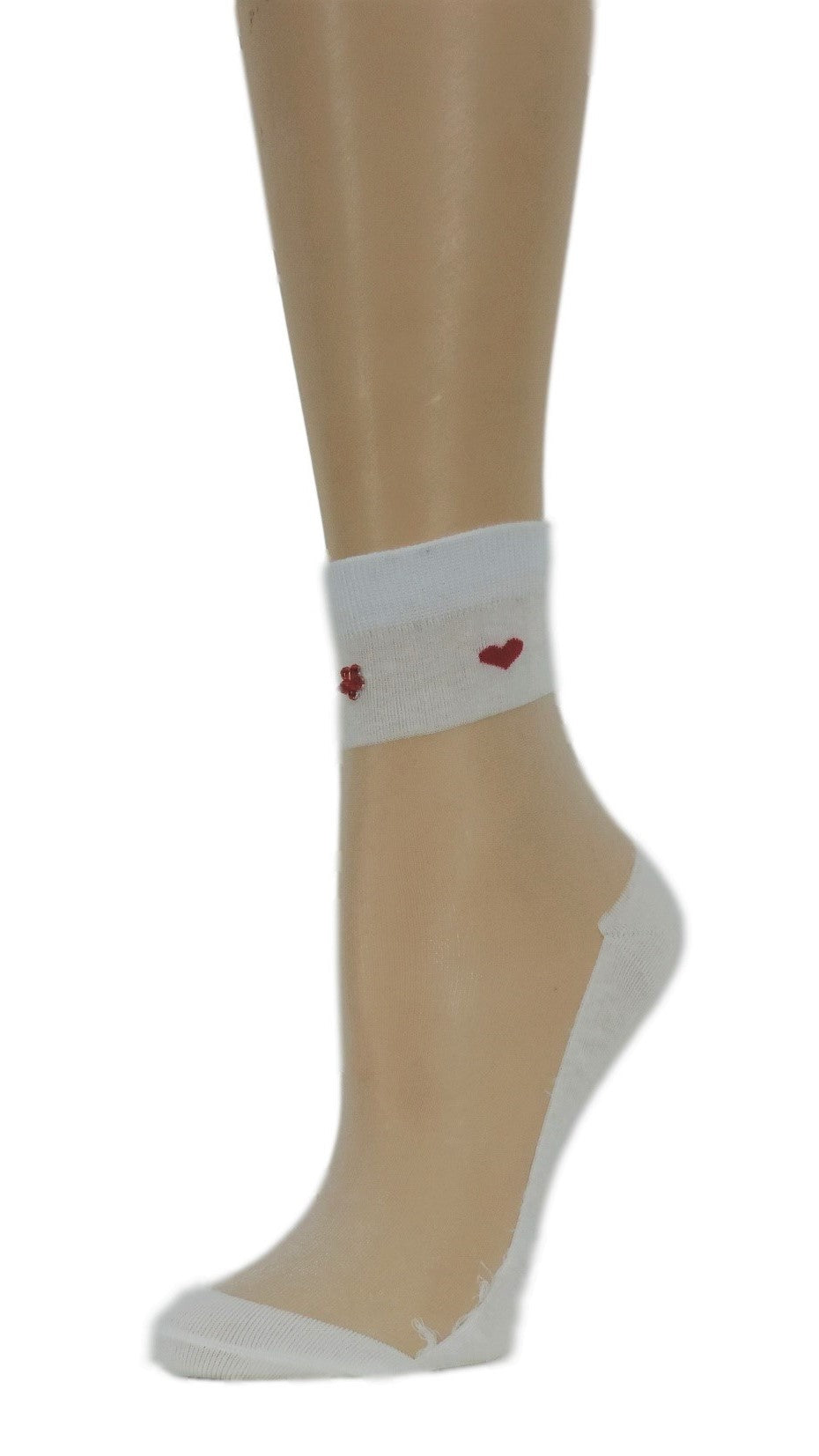 Young Heart White Custom Sheer Socks with beads - Global Trendz Fashion®