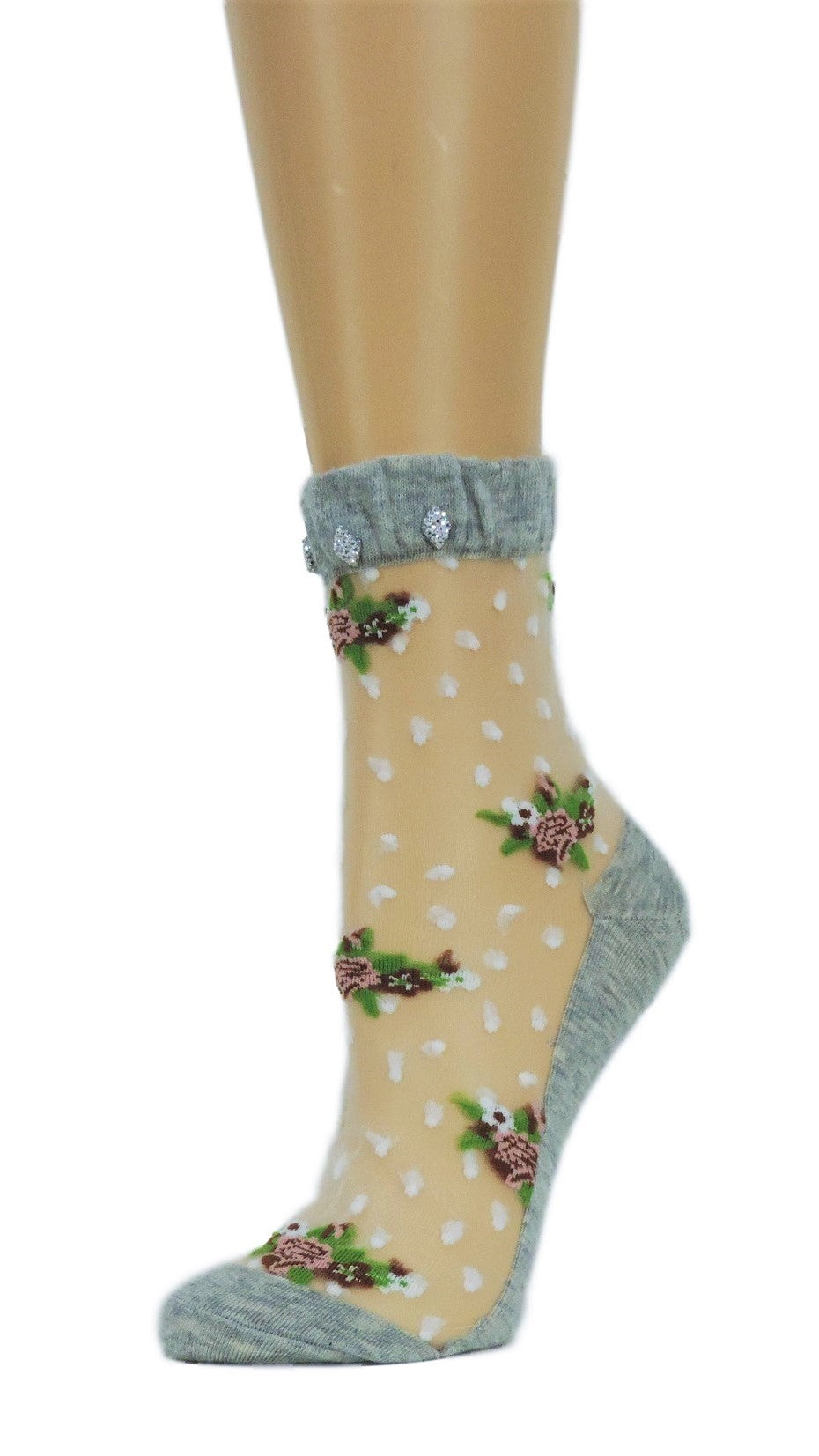 Flowers Bunch Custom Sheer Socks with crystals - Global Trendz Fashion®