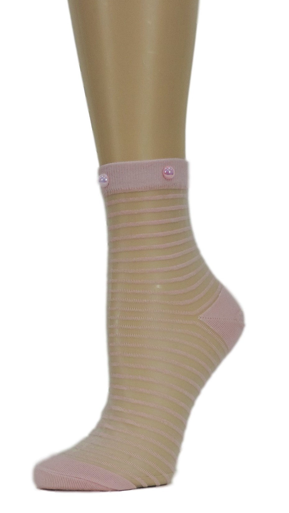 Sweet Pink Striped Custom Sheer Socks with beads - Global Trendz Fashion®