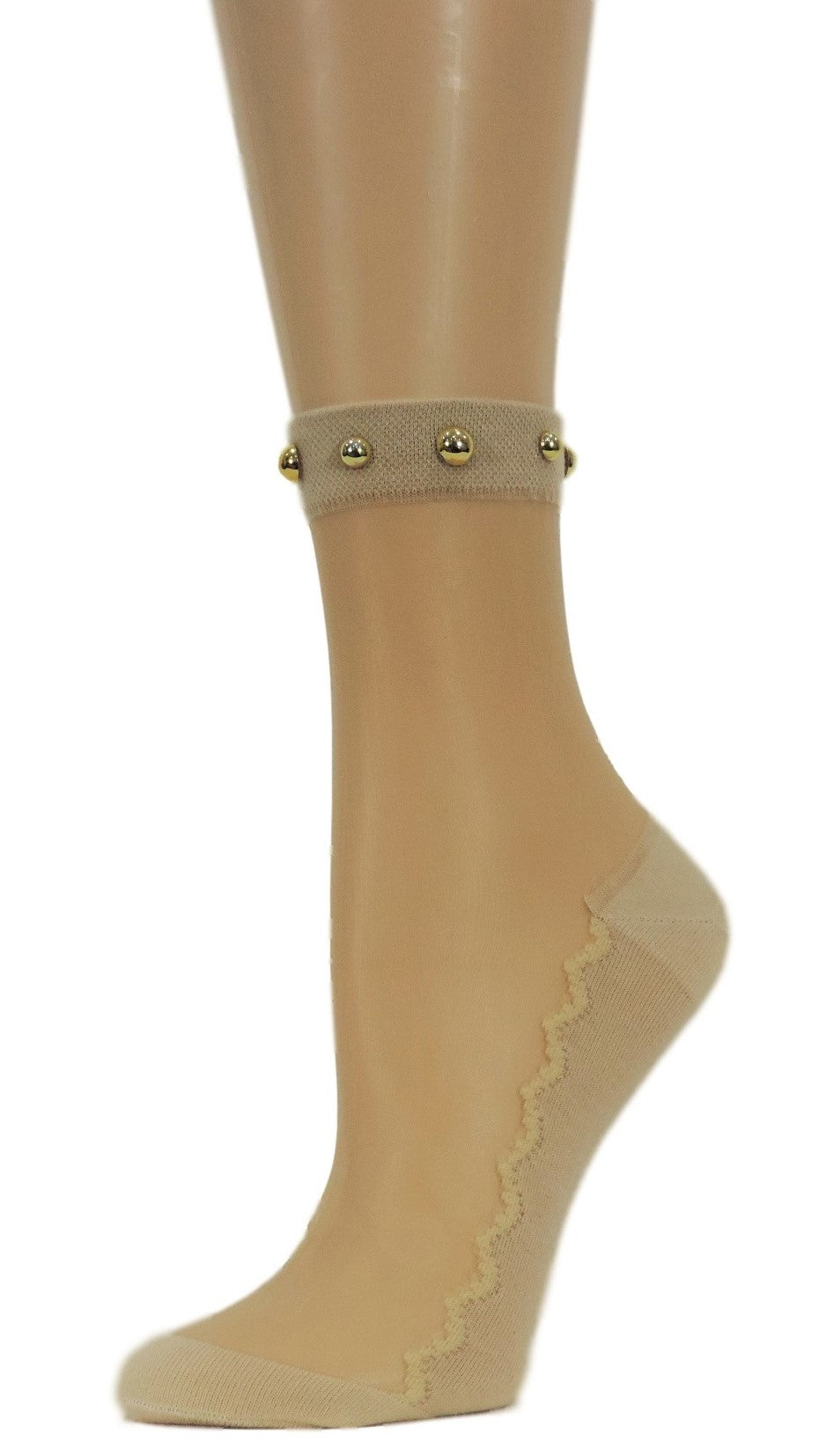 Simple Beige Striped Custom Sheer Socks with beads