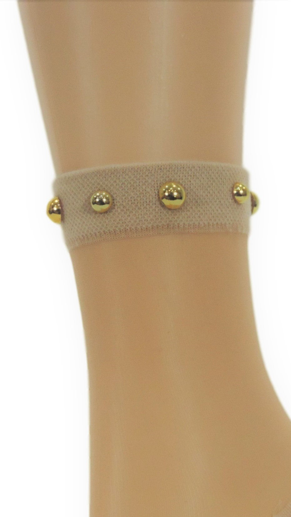 Simple Beige Striped Custom Sheer Socks with beads - Global Trendz Fashion®