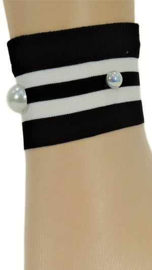 Decent White Striped Custom Sheer Socks with beads - Global Trendz Fashion®