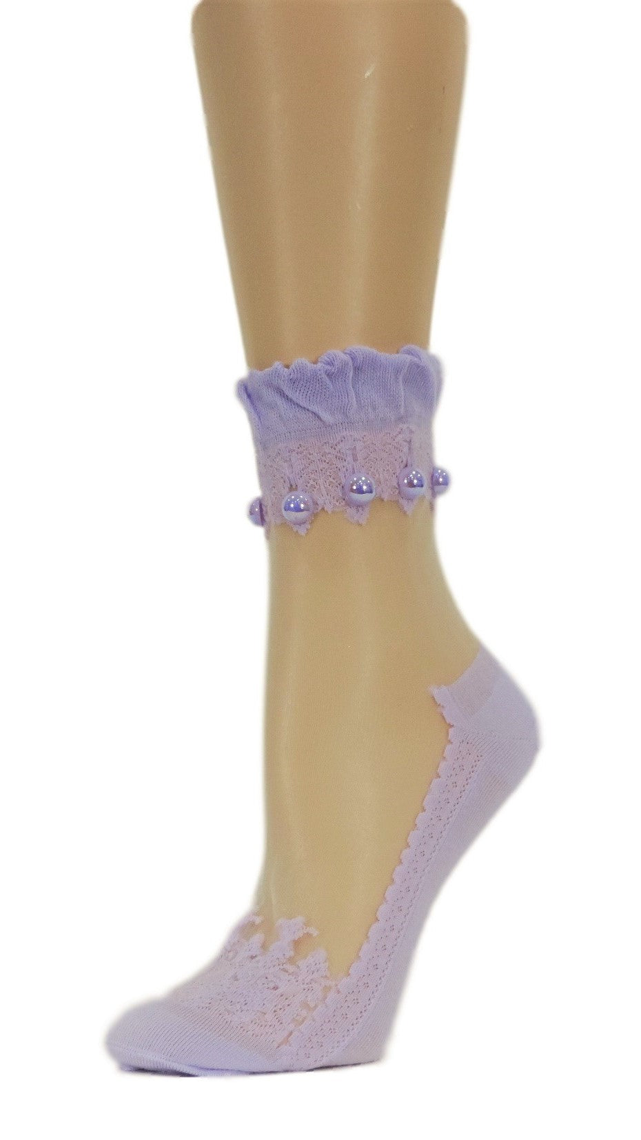 Elegant Purple Custom Sheer Socks with beads - Global Trendz Fashion®