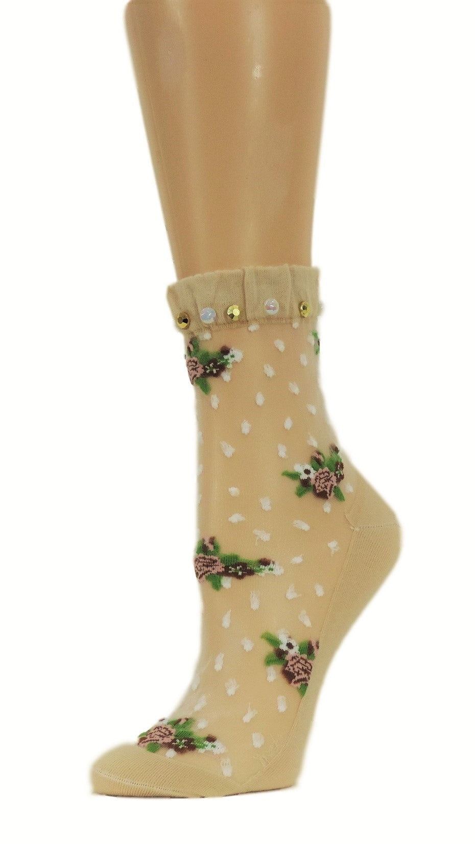Flowers Bunch Custom Sheer Socks with beads - Global Trendz Fashion®