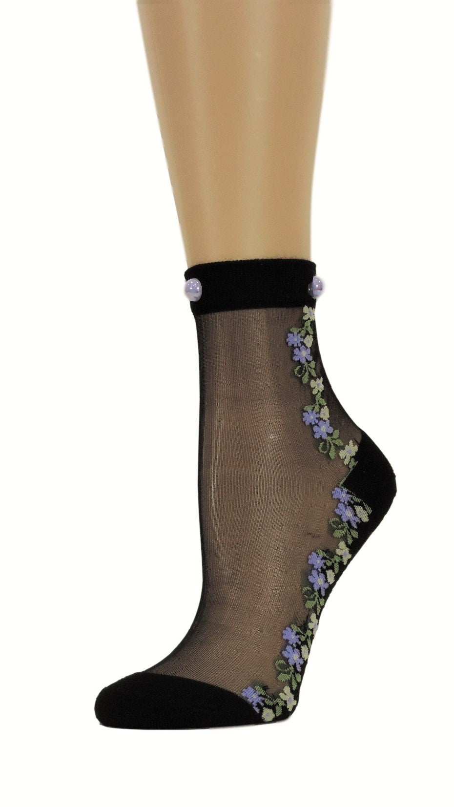 Delicate Flowers Custom Sheer Socks with beads - Global Trendz Fashion®