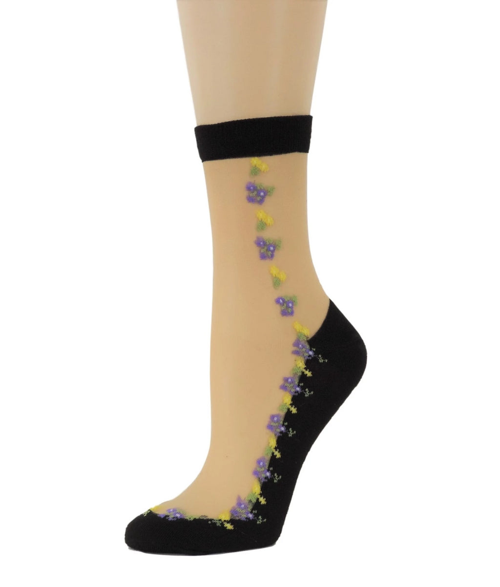 Purple Yellow Flowers Sheer Socks - Global Trendz Fashion®