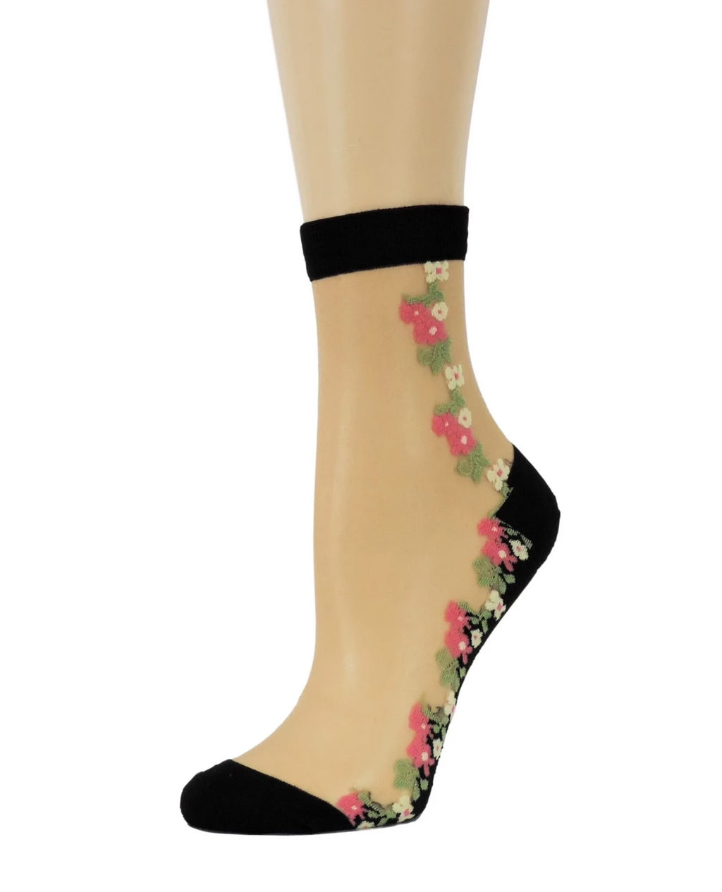 Sharp Pink/Yellow Flowers Sheer Socks - Global Trendz Fashion®