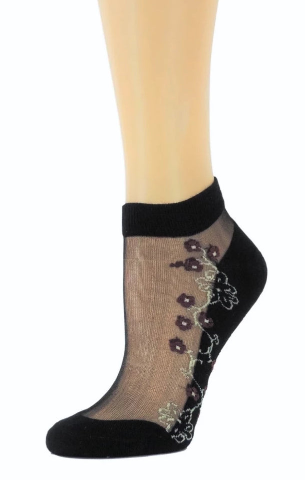 Maroon Flowers Ankle Sheer Socks - Global Trendz Fashion®