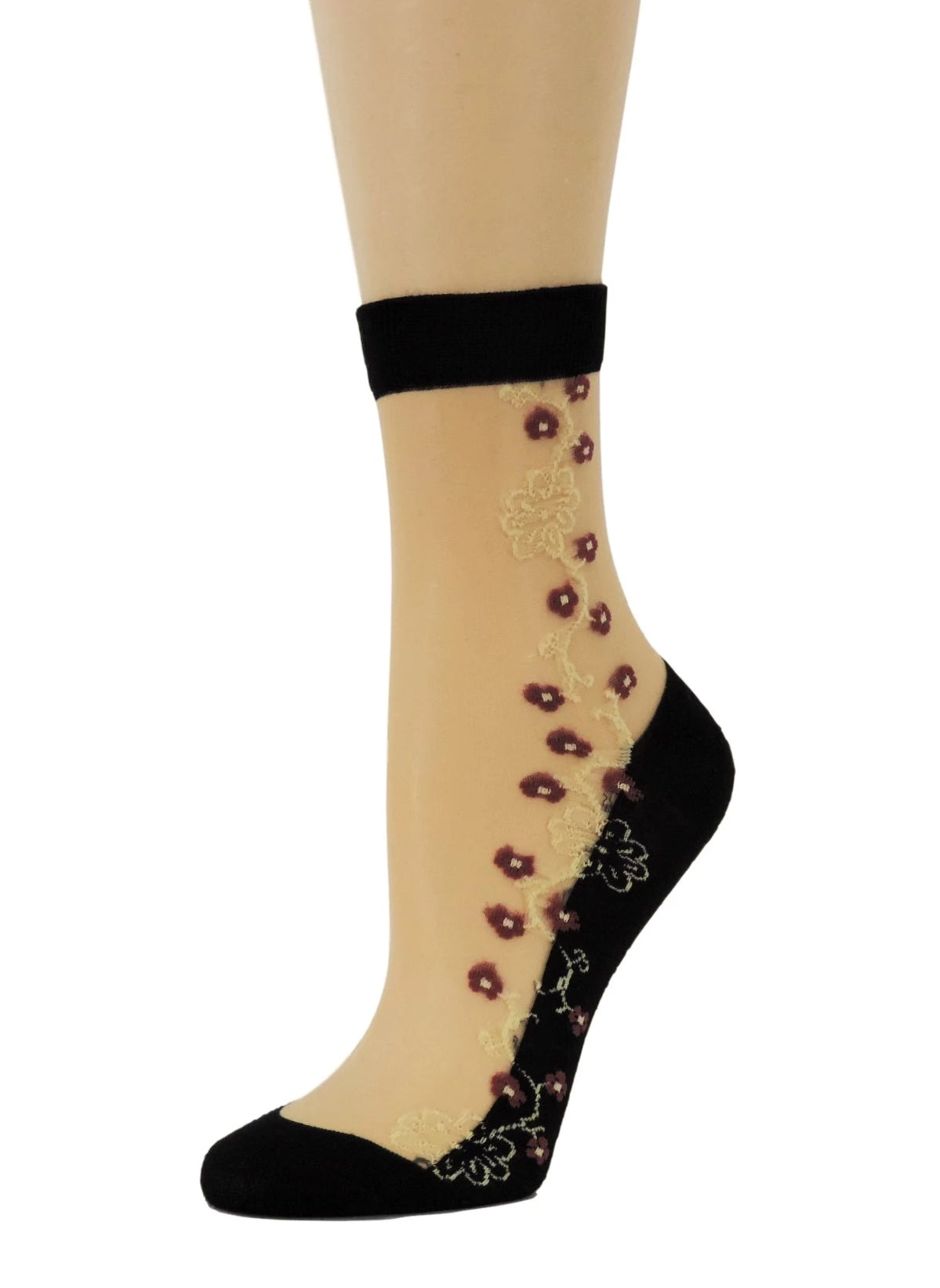 Maroon Flowers Sheer Socks - Global Trendz Fashion®