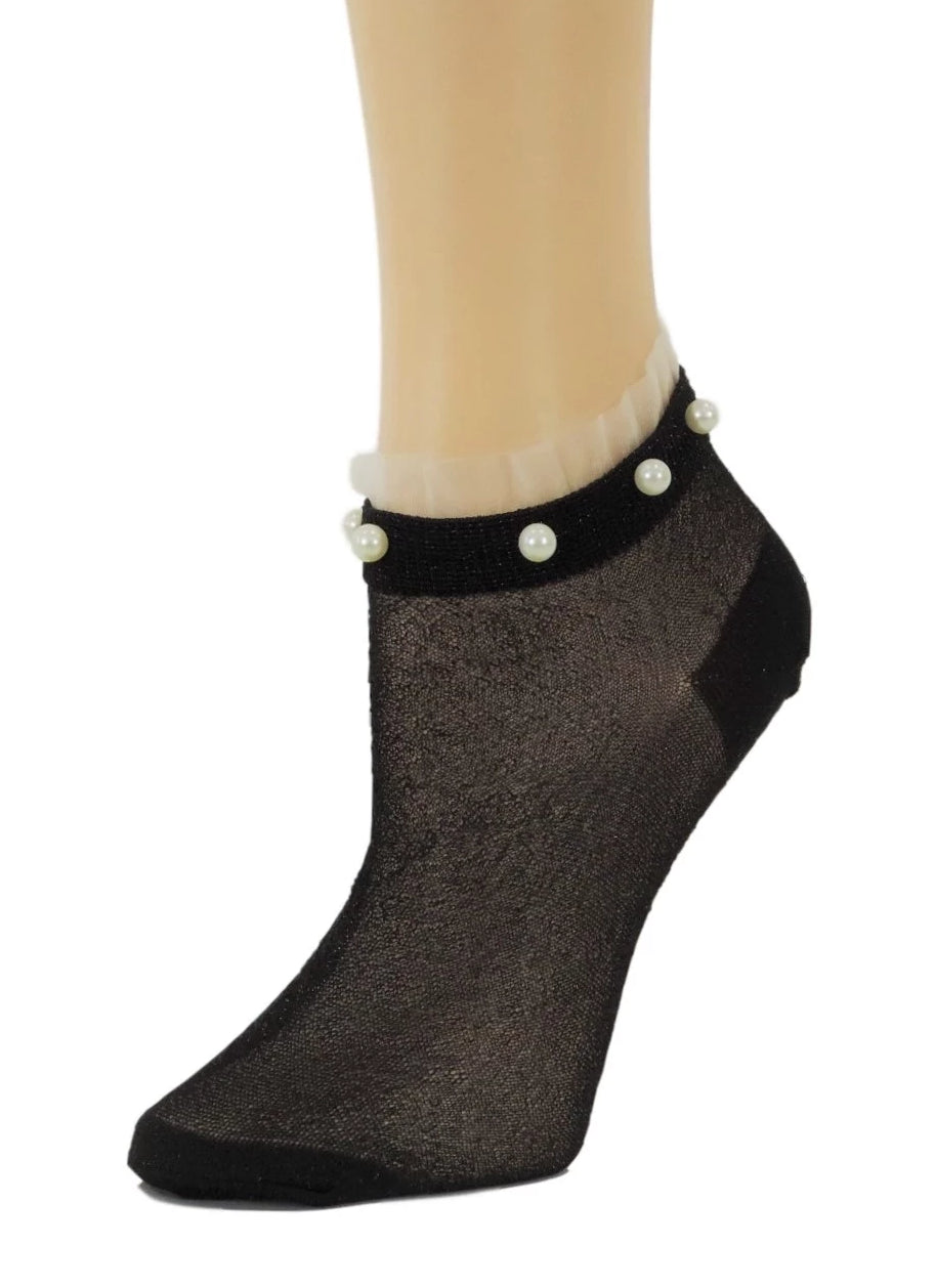 Stunning Pearls Light Black Glitter Socks - Global Trendz Fashion®