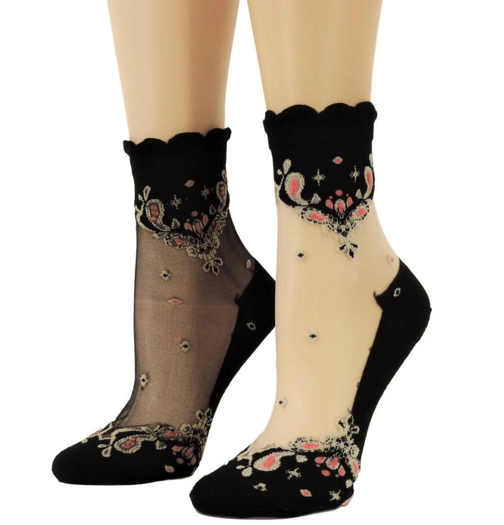 Chanadlier Paterened Sheer Socks (Pack of 2 pairs) - Global Trendz Fashion®