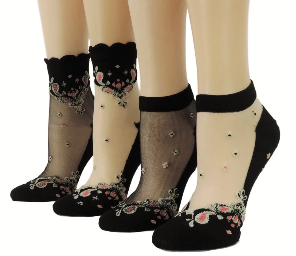 Chanadlier Sheer Socks (Pack of 4 Pairs) - Global Trendz Fashion®